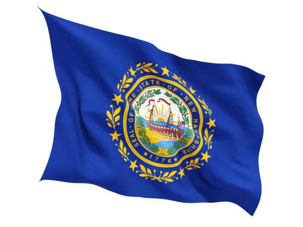 Bandeira de new hampshire, estado dos Estados Unidos tremulando bandeira - foto de acervo