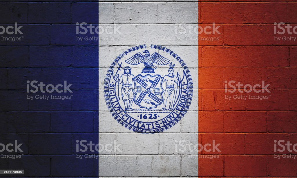 Flag of New York City painted on a wall stock photo