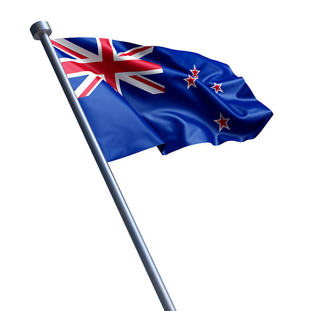 flag of new zealand isolated on white - new zealand flag stock photos and pictures