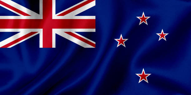 flag of new zealand waving background - new zealand flag stock photos and pictures