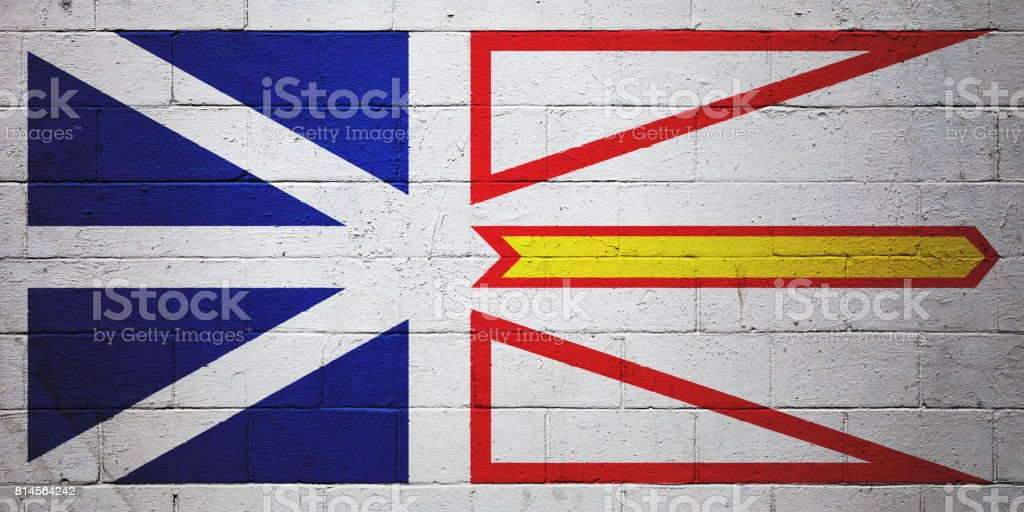 Flag of Newfoundland and Labrador painted on a wall stock photo