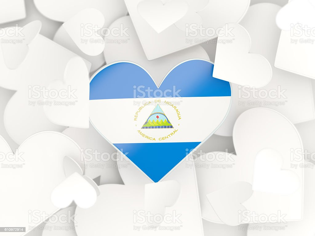 Flag of nicaragua, heart shaped stickers - foto de stock
