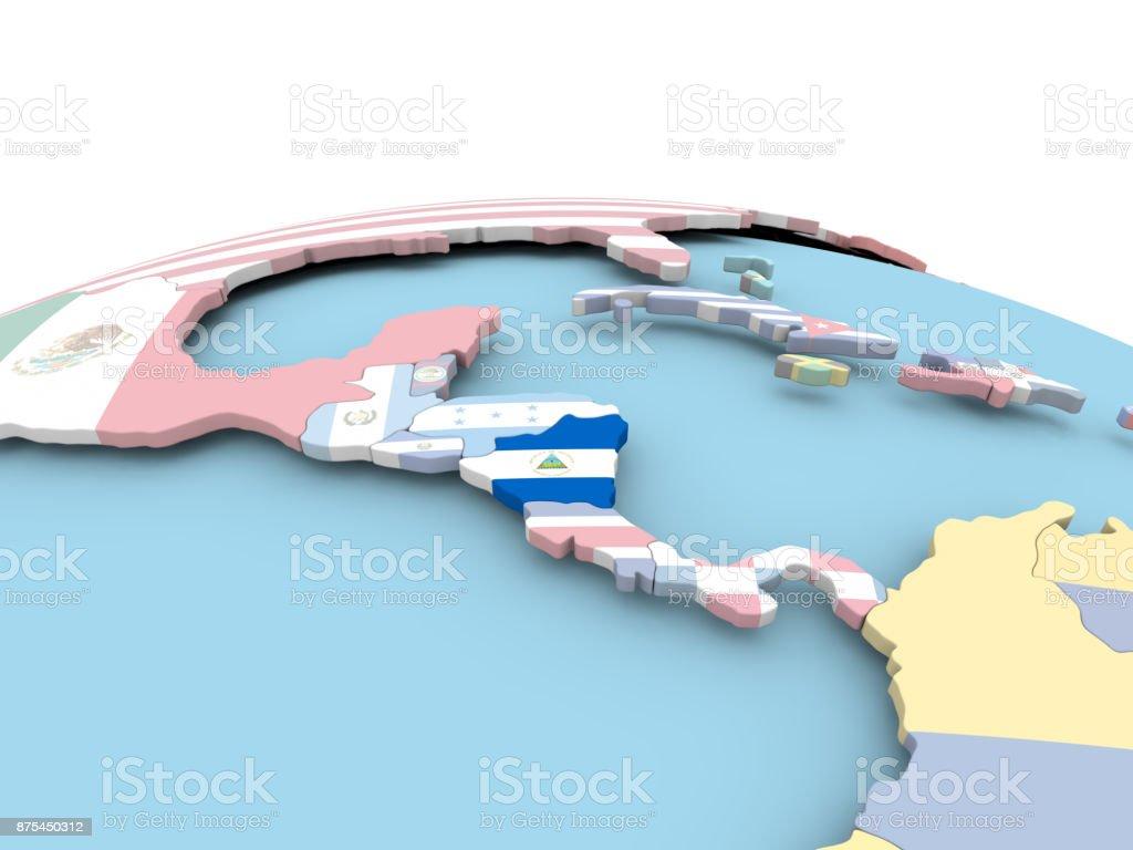 Bandera de Nicaragua en globo brillante - foto de stock