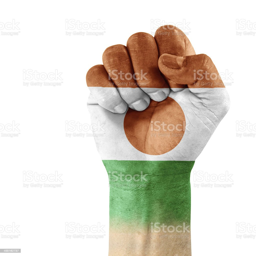 Flag of Niger On Hand stock photo