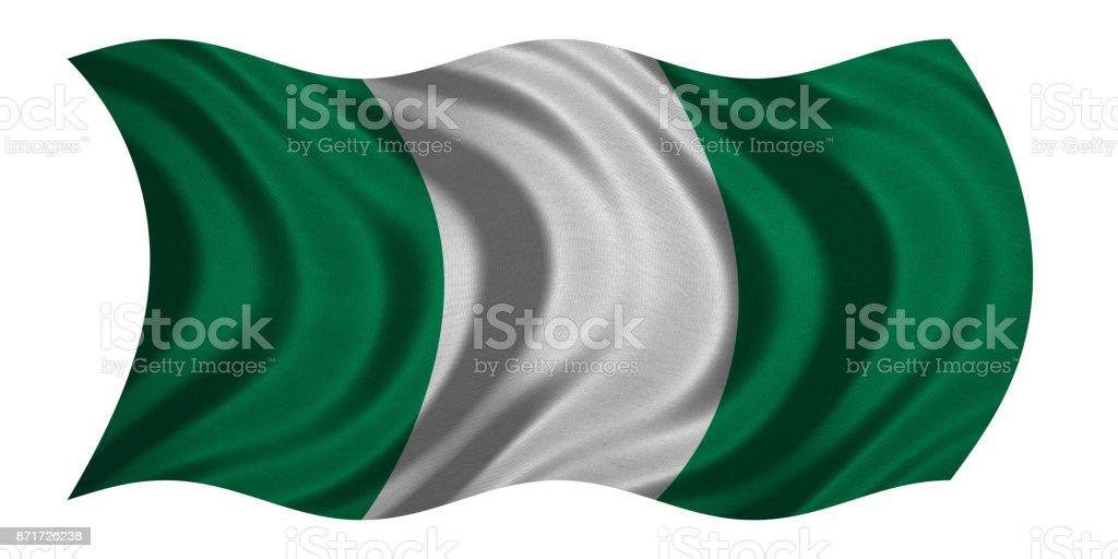 Bandera de Nigeria ondulado en blanco, textura de la tela - foto de stock