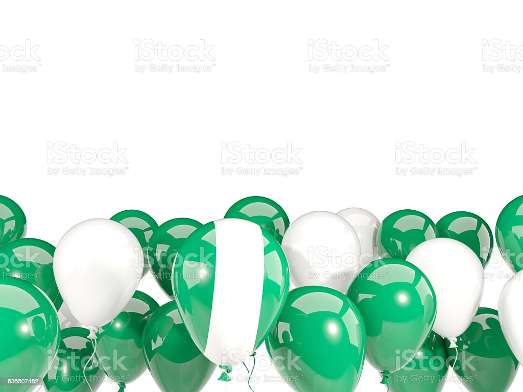 Flag of nigeria with balloons - foto de stock