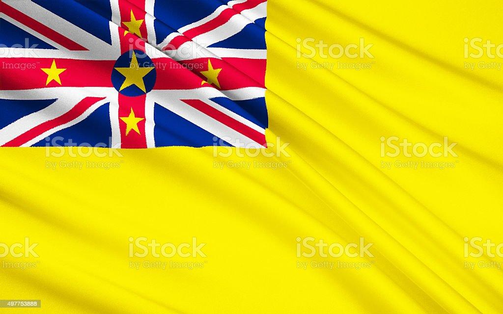 Flag of Niue (New Zealand), Alofi - Polynesia stock photo