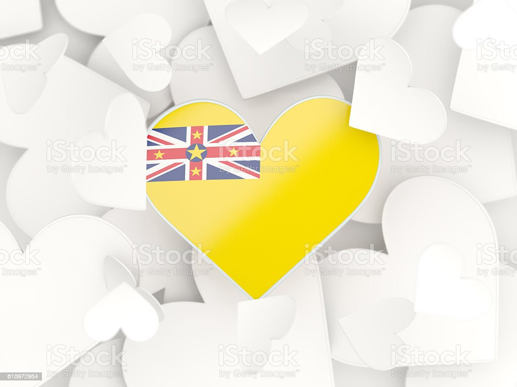Flag of niue, heart shaped stickers stock photo