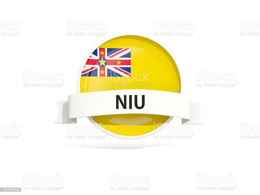 Flag of niue with banner stock photo