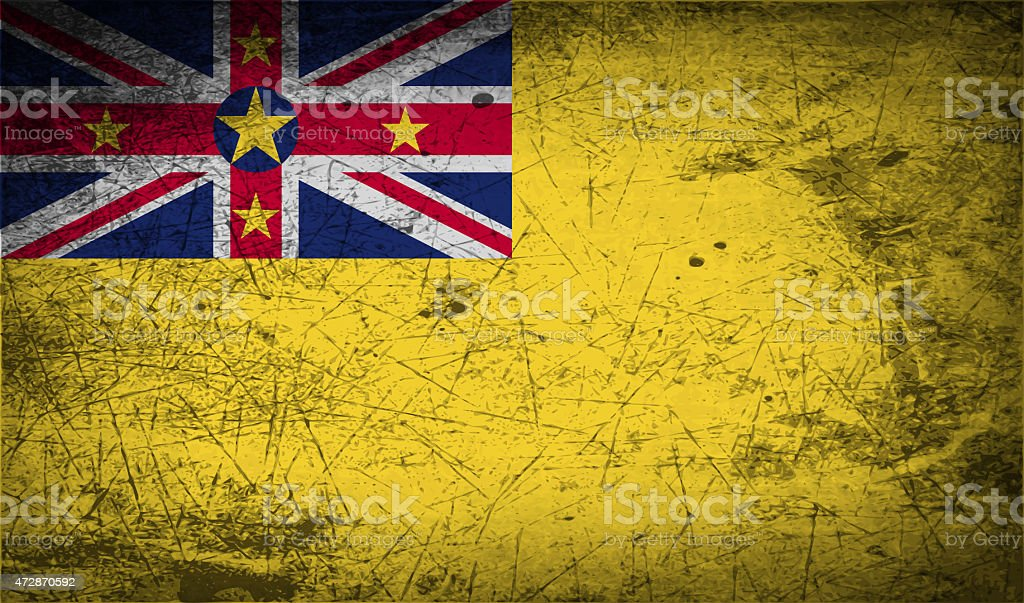 Flag of Niue with old texture. stock photo
