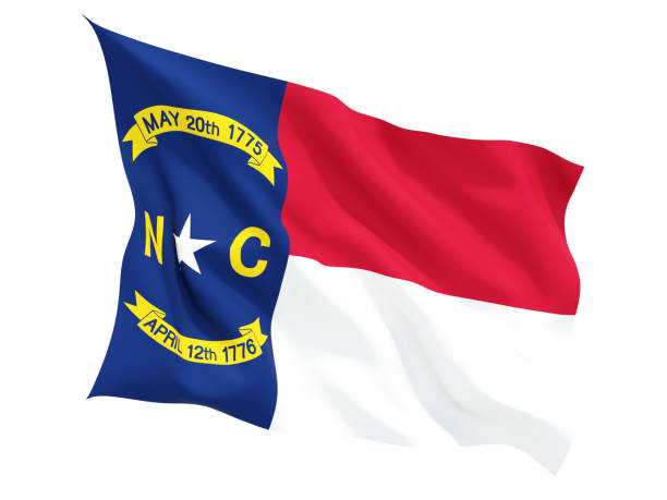 Flag of north carolina, US state fluttering flag Flag of north carolina, US state fluttering flag isolated on white. 3D illustration north carolina us state stock pictures, royalty-free photos & images