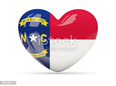 Flag Of North Carolina Us State Heart Icon Stock Photo More