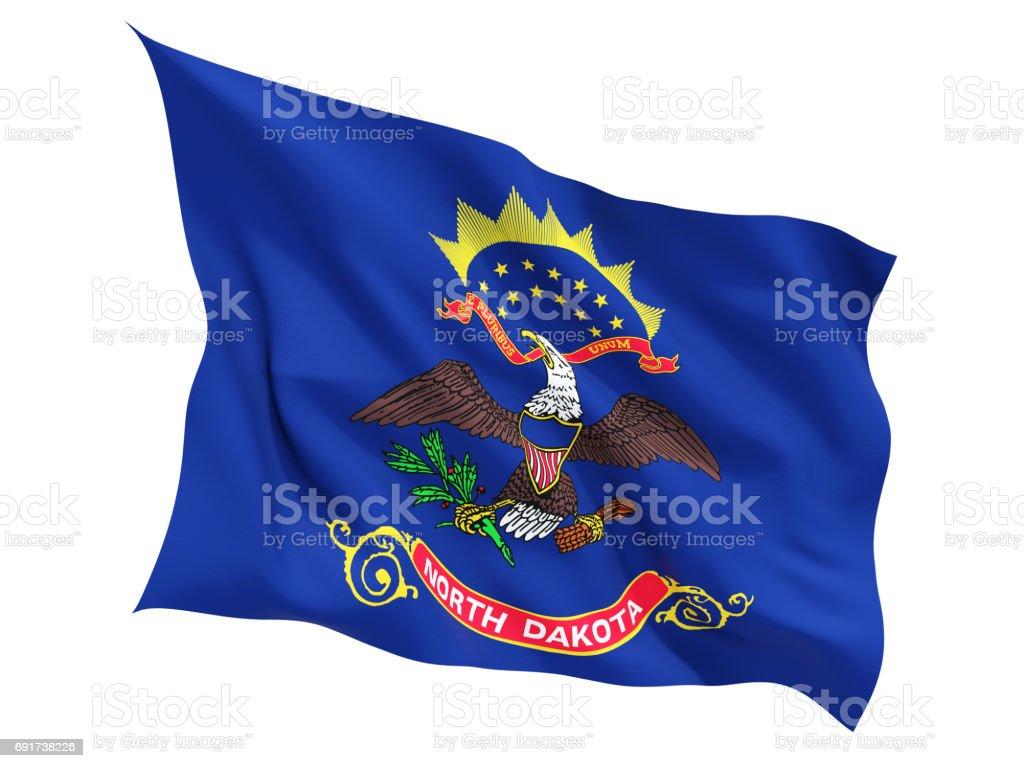 Flag of north dakota, US state fluttering flag stock photo