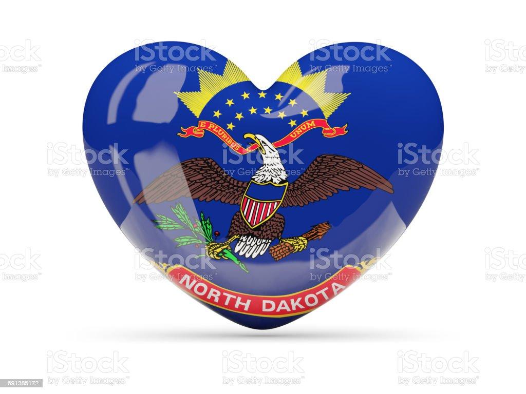 Flag of north dakota, US state heart icon stock photo