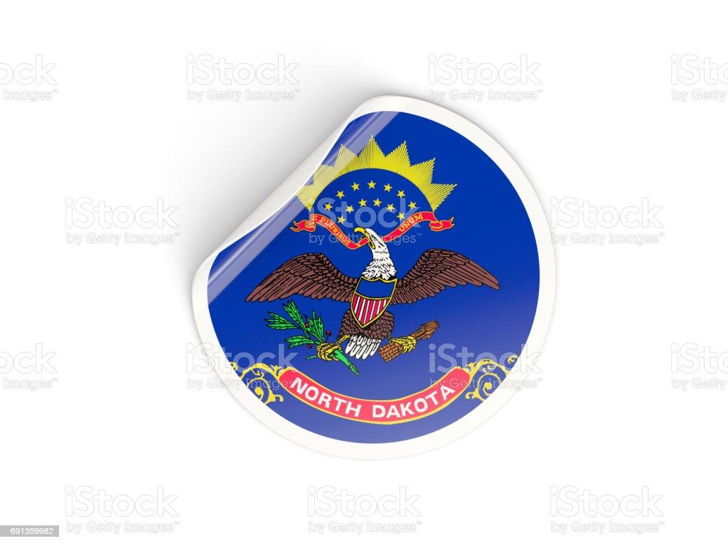 Flag of north dakota, US state round sticker stock photo