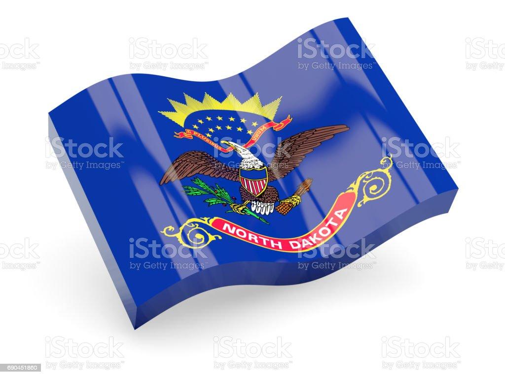 Flag of north dakota, US state wave icon stock photo