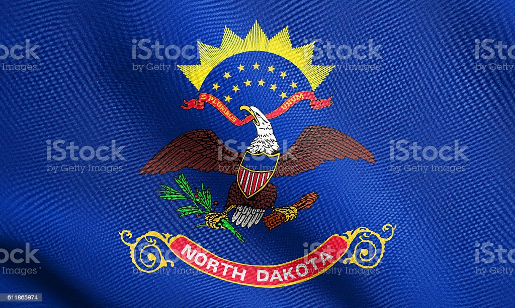 Flag of North Dakota waving with fabric texture stock photo