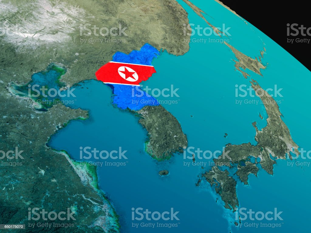 Flag of North Korea from space stock photo