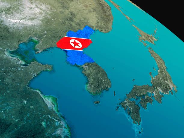 Bandera de Corea del norte desde el espacio - foto de stock
