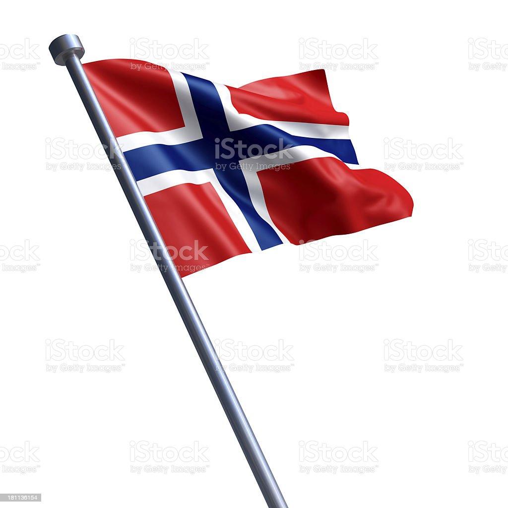 Bandeira da Noruega Isolada a branco - fotografia de stock