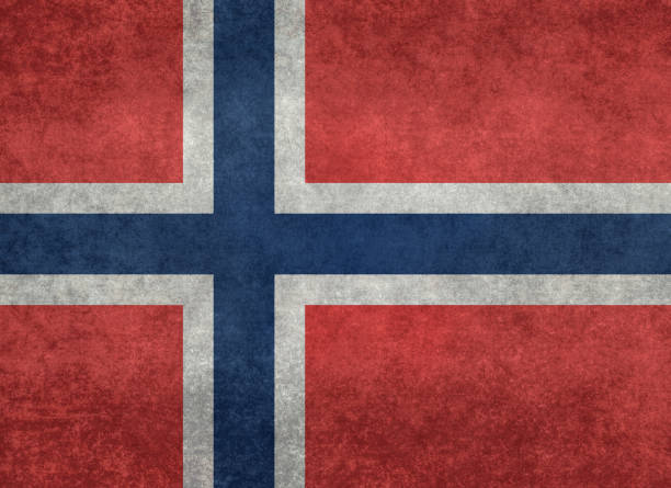 Flag of Norway with vintage distressed textures - fotografia de stock
