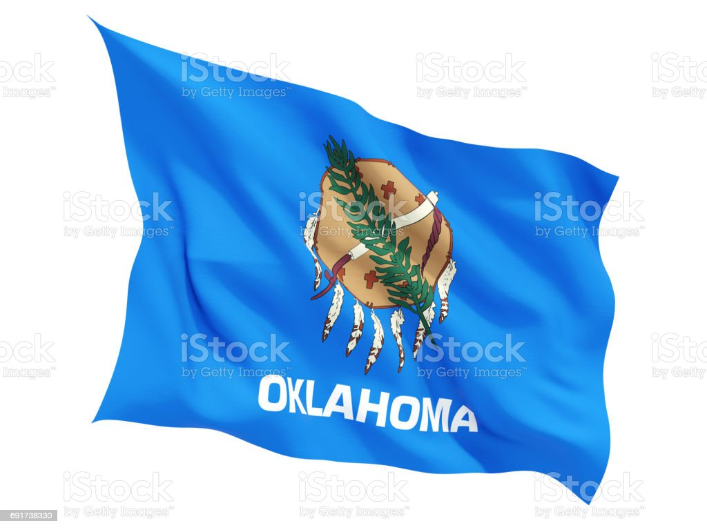 Flag of oklahoma, US state fluttering flag stock photo