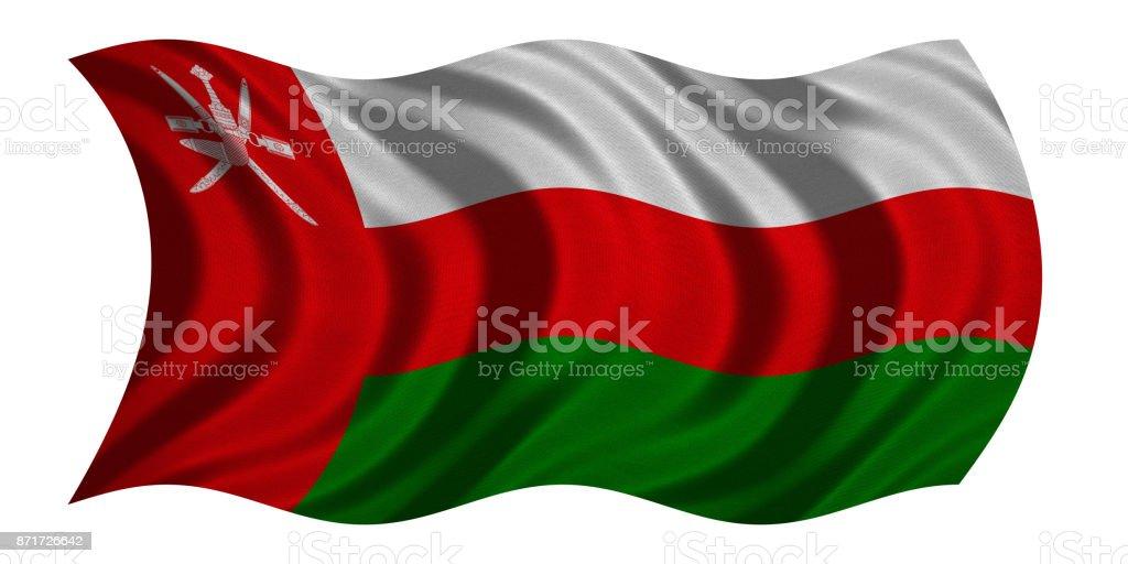 Flag of Oman wavy on white, fabric texture stock photo