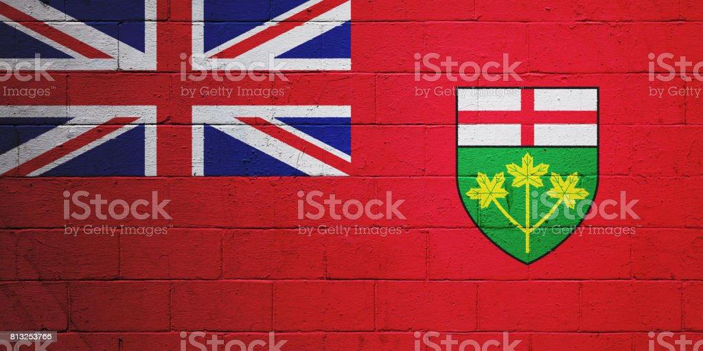 Flag of Ontario painted on a wall stock photo