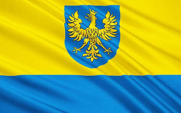 Flag of Opole Voivodeship in Poland stock photo