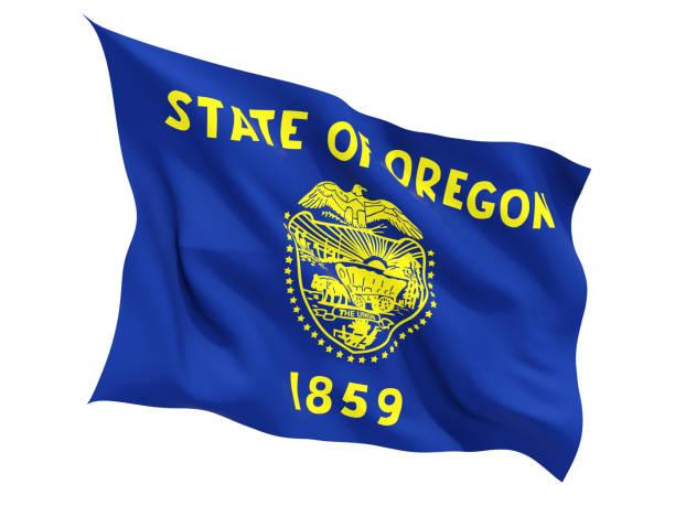 Flag of oregon, US state fluttering flag Flag of oregon, US state fluttering flag isolated on white. 3D illustration oregon us state stock pictures, royalty-free photos & images