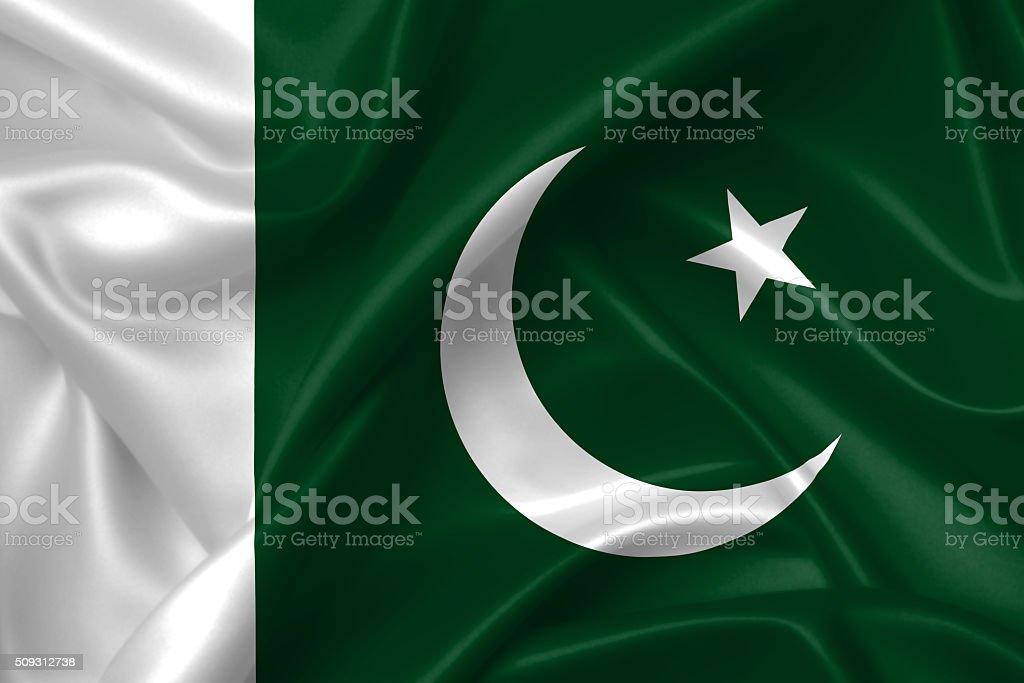 Flag of Pakistan 3D, silk texture stock photo