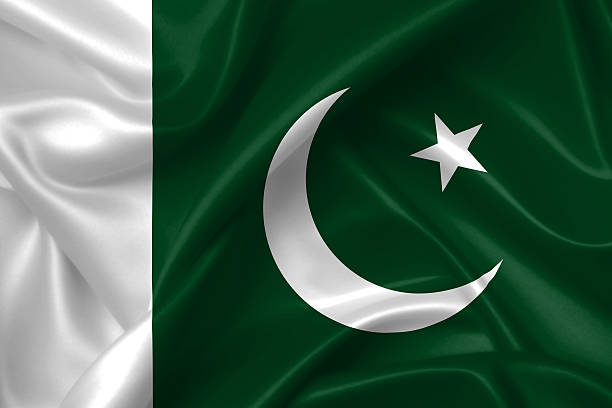 flag of pakistan 3d, silk texture - pakistani flag stock photos and pictures