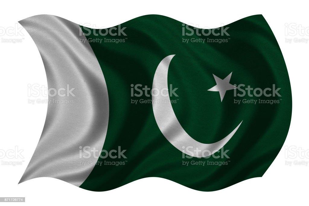 Flag of Pakistan wavy on white, fabric texture stock photo