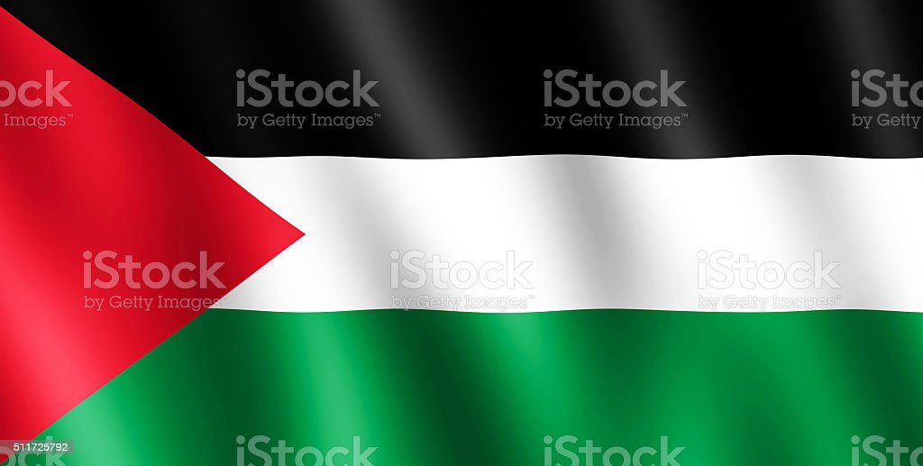 Flag of Palestine waving in the wind stock photo