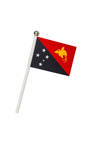 Flag of Papua New Guinea isolated on white background