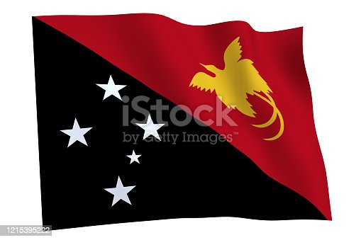 istock Flag of Papua New Guinea waving in the wind 1215395222