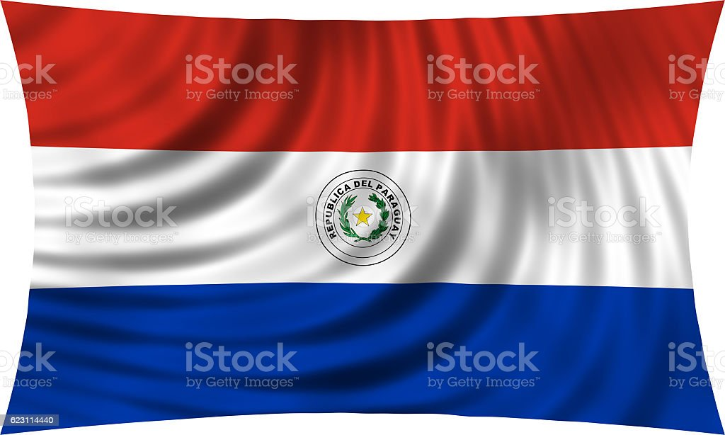 Flag of Paraguay waving isolated on white - foto de stock