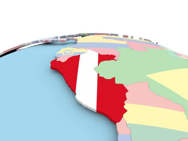 Bandera del Perú en el mundo brillante - foto de stock