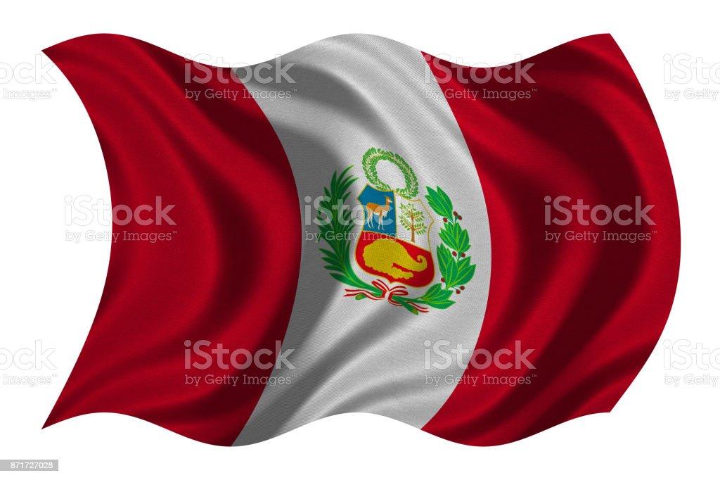 Flag of Peru wavy on white, fabric texture stock photo