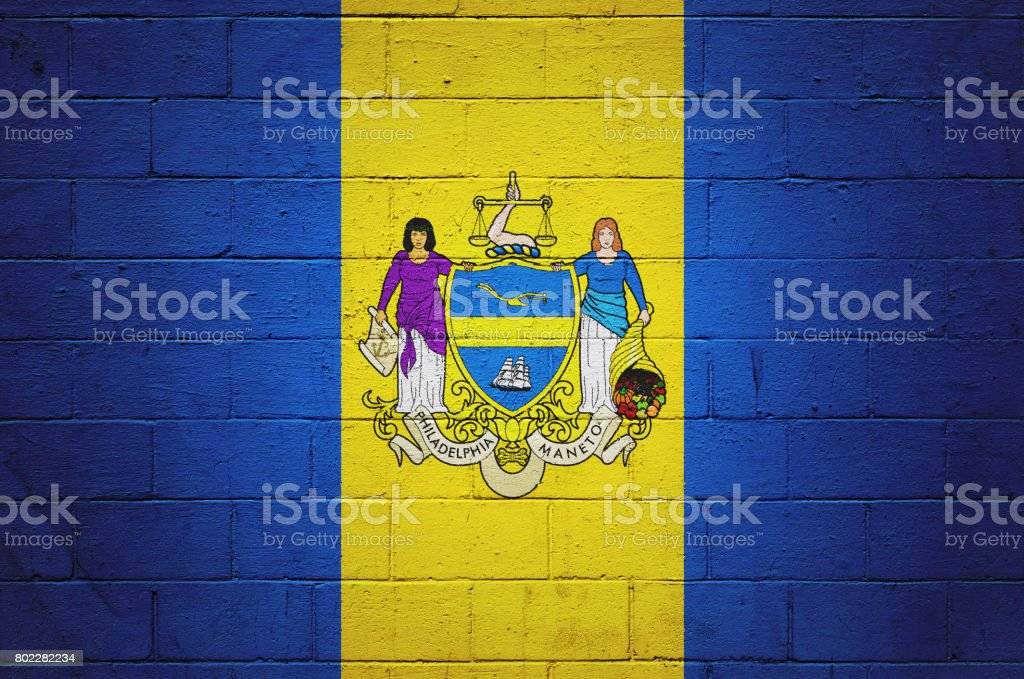 Flag of Philadelphia painted on a wall stock photo