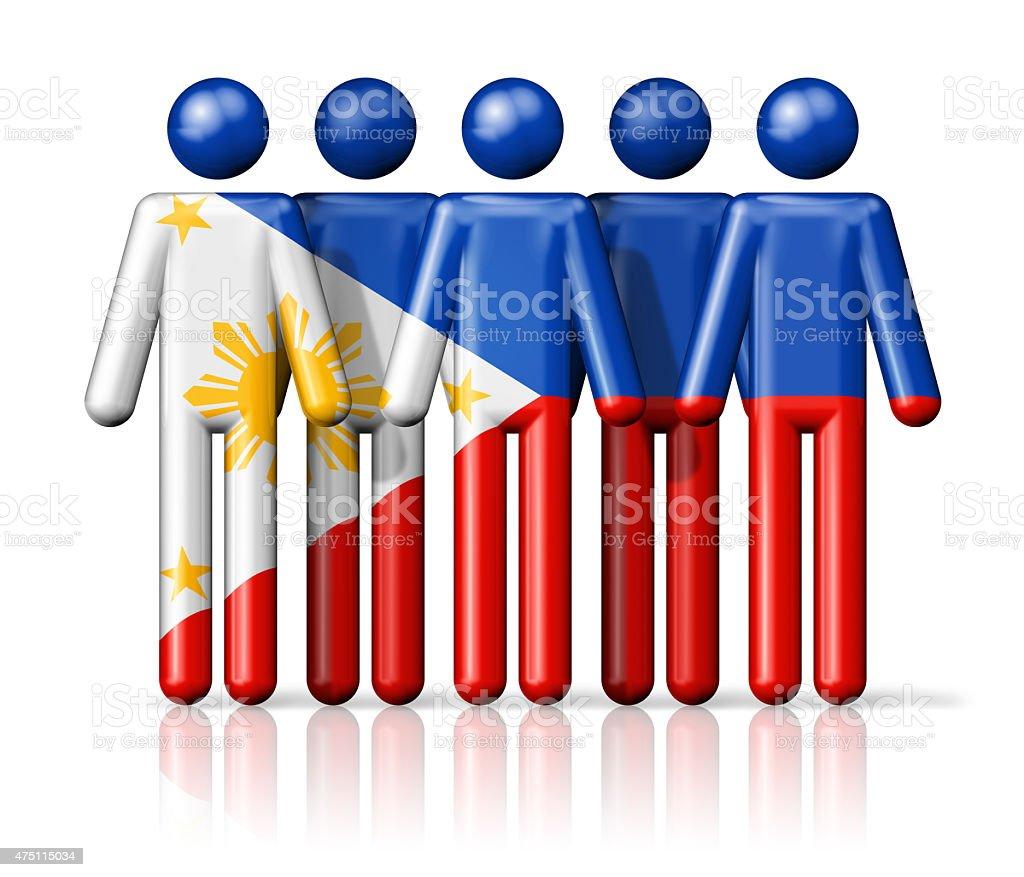 Flag of Philippines on stick figure stock photo