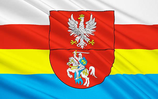 Flag of Podlaskie Voivodeship in northeastern Poland stock photo