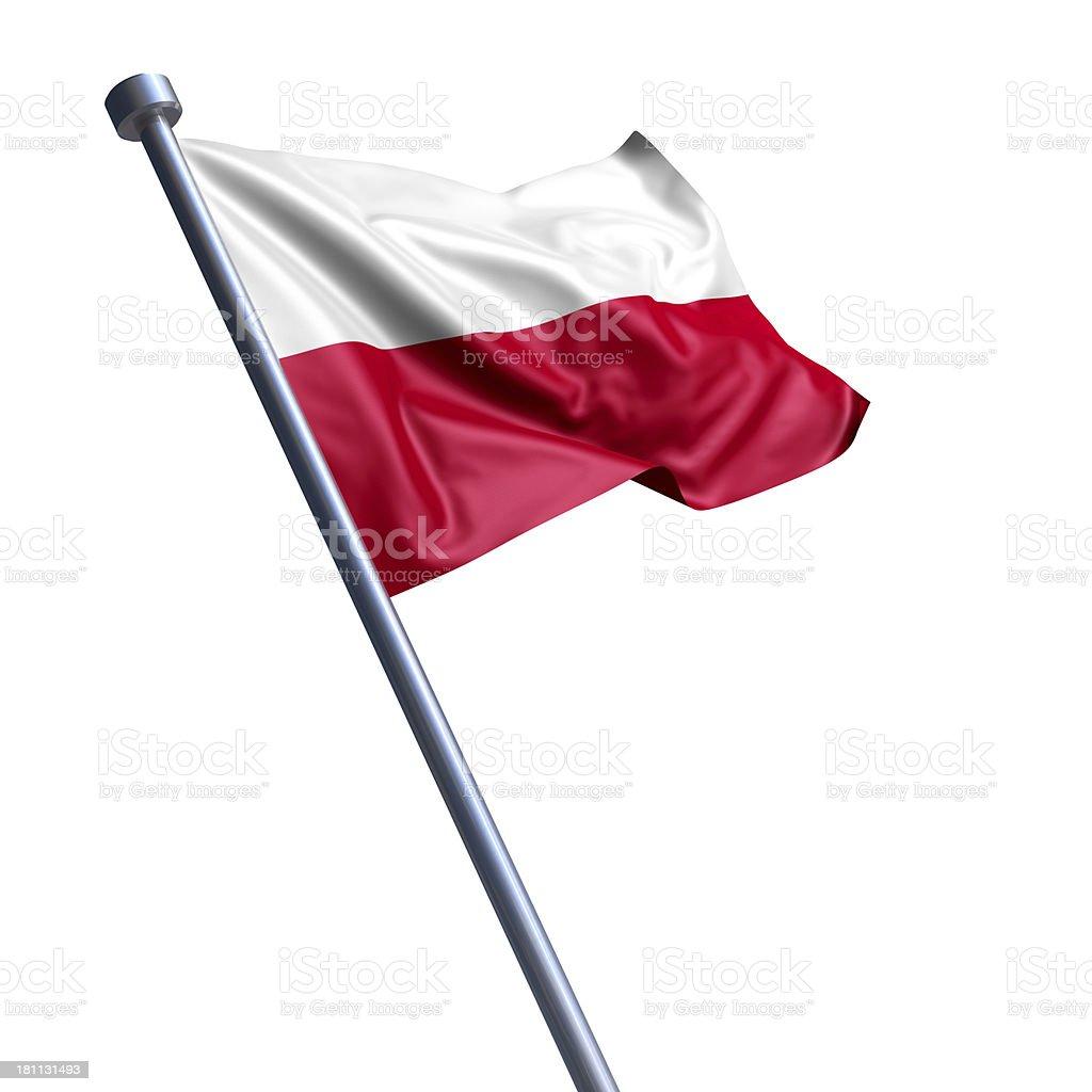 Flag of Poland isolated on white stock photo