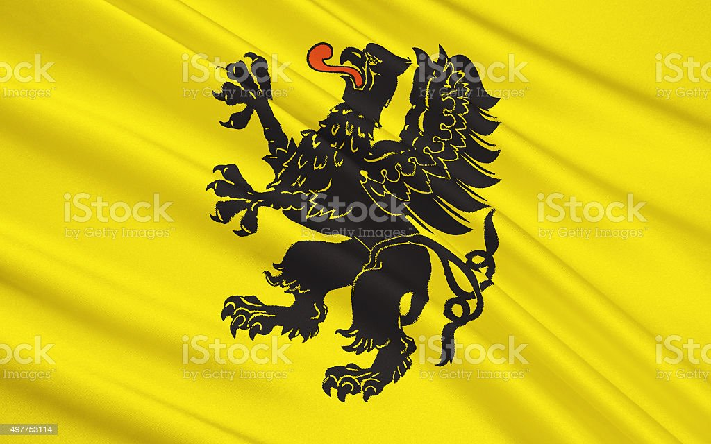 Flag of Pomeranian Voivodeship in north-central Poland stock photo