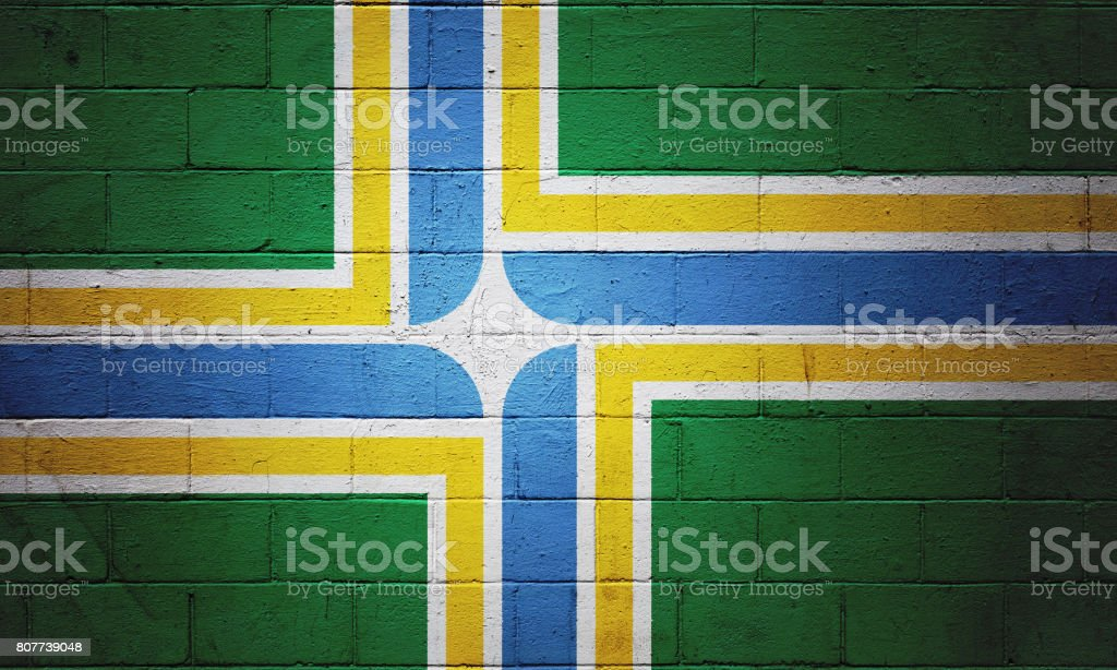 Flag of Portland painted on a wall stock photo