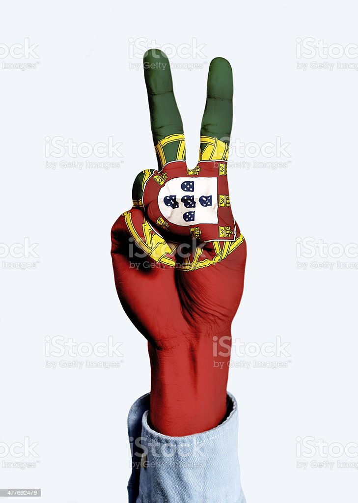 Flag of Portugal hand sign royalty-free stock photo