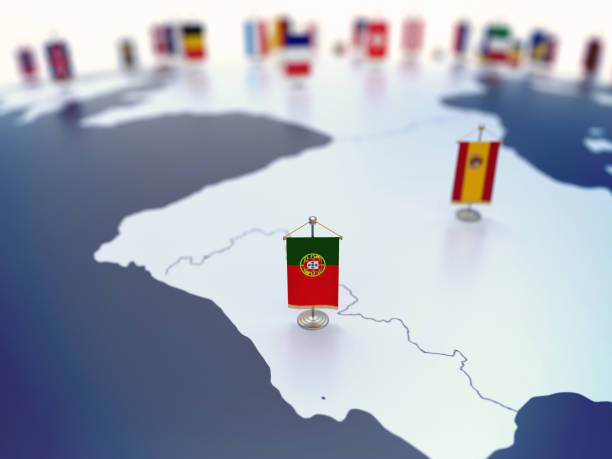 Flag of Portugal in focus among other European countries flags stock photo