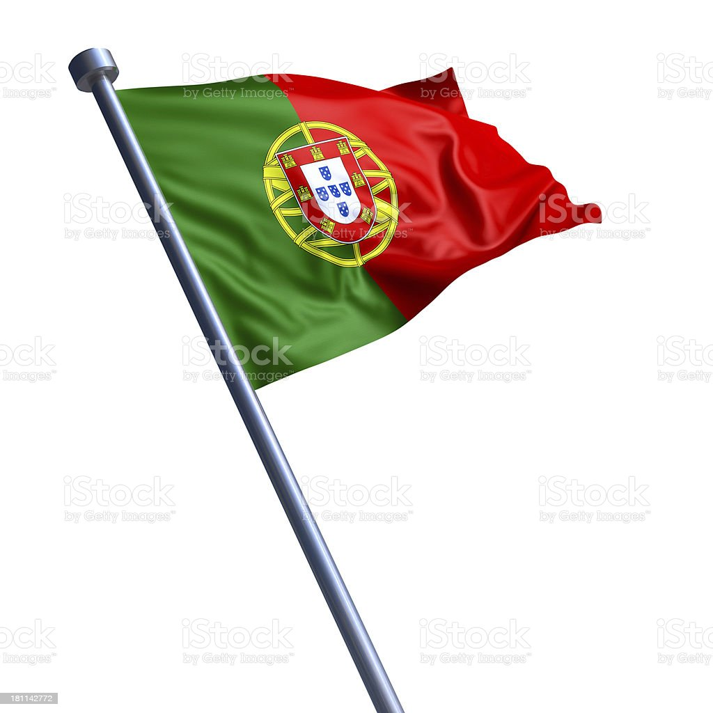 Flag of Portugal isolated on white stock photo