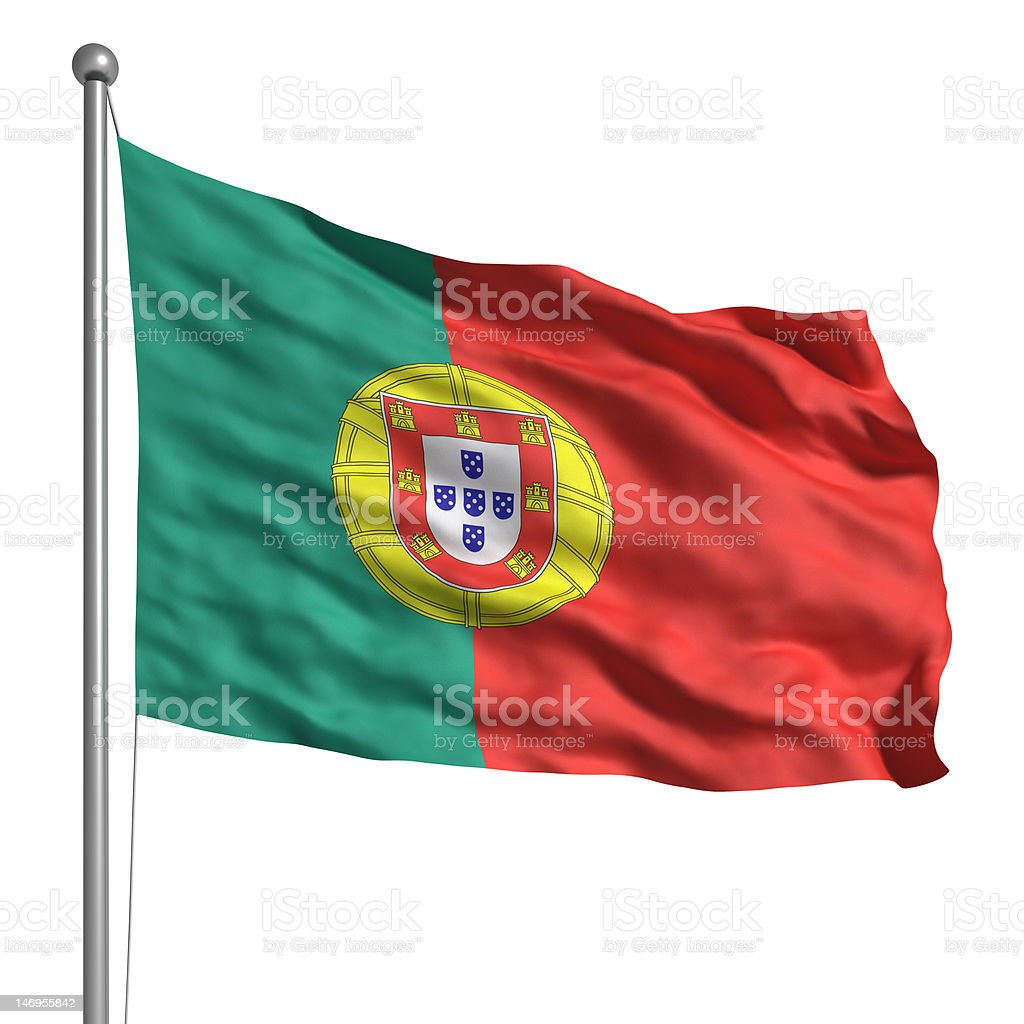 Flag of Portugal (Isolated) stock photo