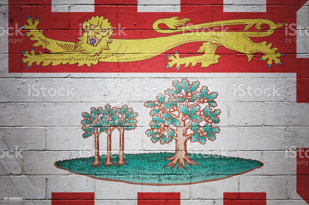 Flag of Prince Edward Island painted on a wall stock photo